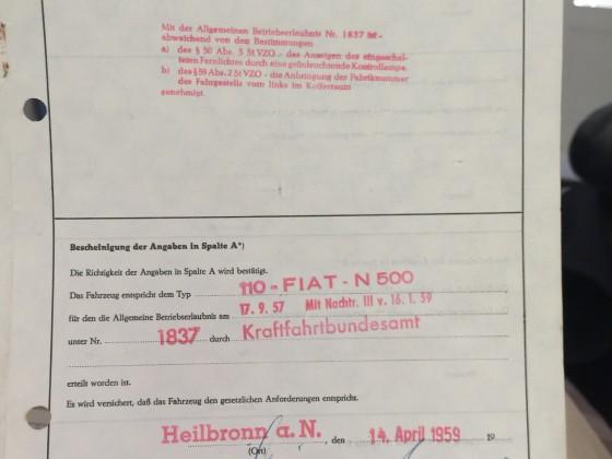 500N Fahrzeugbrief 1959