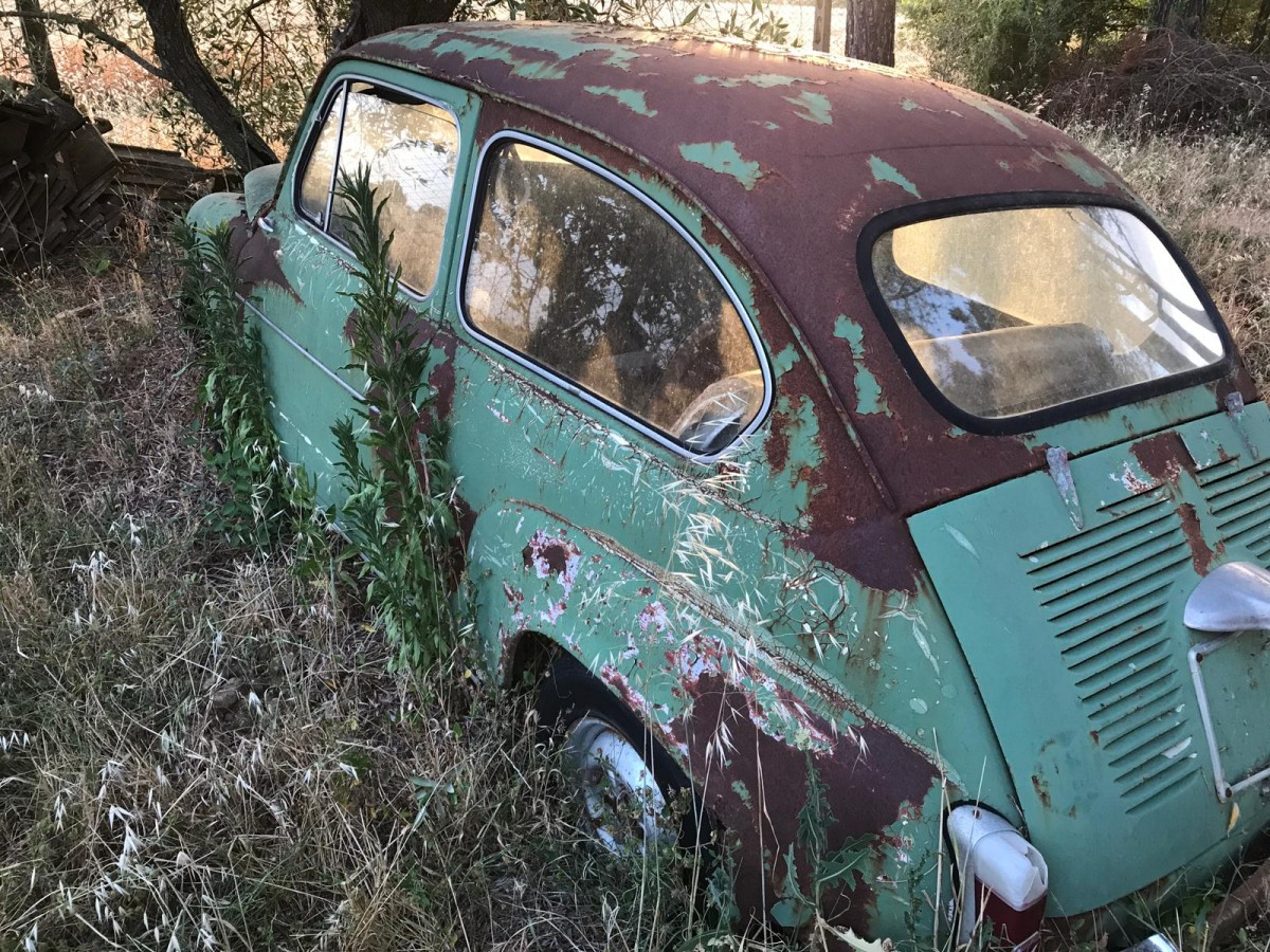 Fiat 600, in Umbrien, steht da seit 20 Jahren auf der Pferdekoppel